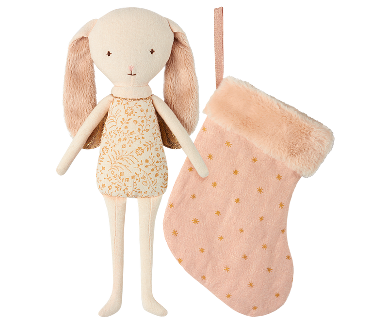 Maileg Bunny Angel in Powder Pink Stocking