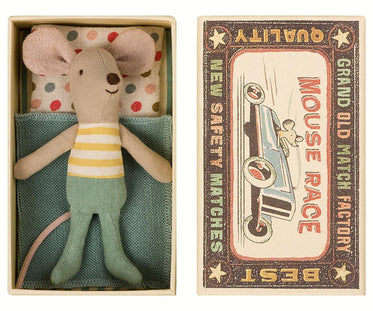 Little Brother Mouse in Matchbox with Yellow Stripes