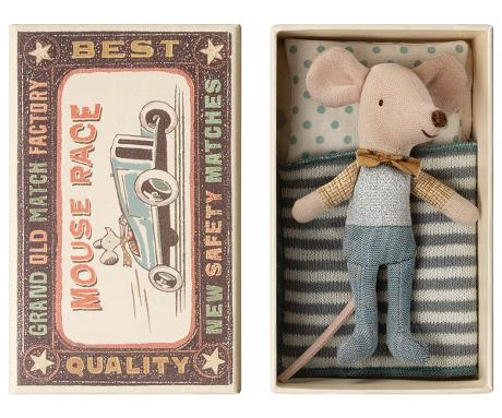 Maileg Little Brother Mouse in Bowtie in Matchbox