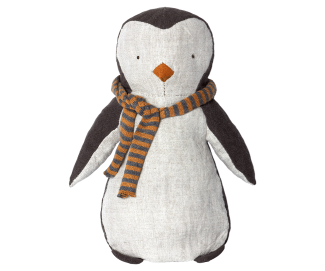 Penguin in Striped Scarf