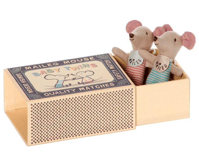 Baby Twin Mice in a Matchbox