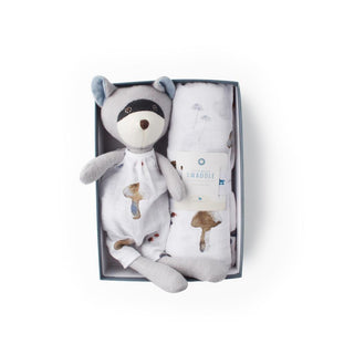 Hazel Village Max Raccoon x Little Unicorn Swaddle Gift Bundle