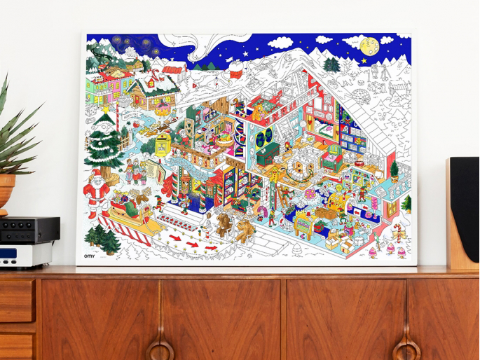 omy santas workshop coloring poster omy santas workshop coloring poster