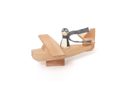 Goose Grease Wooden Airplane and Peg Doll Pilot