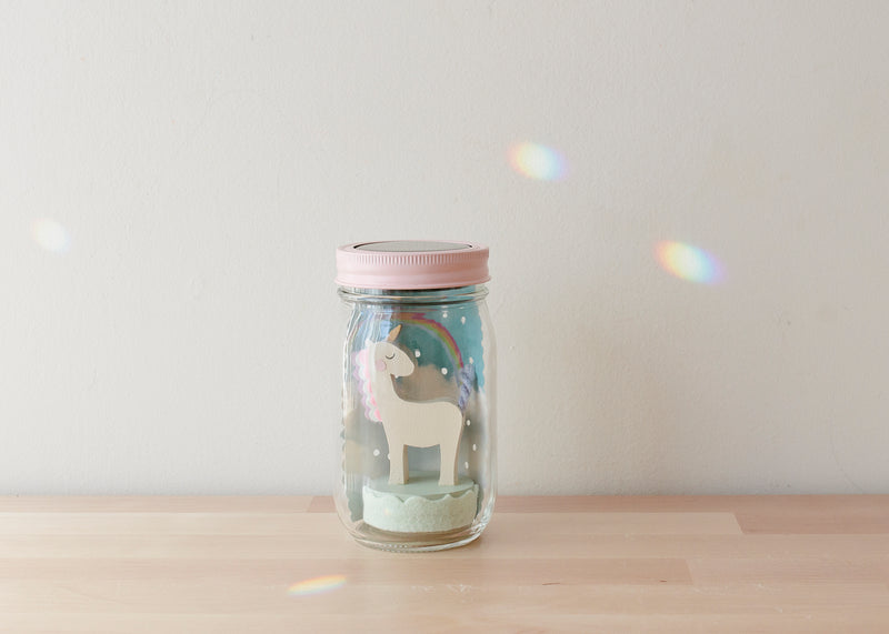 Unicorn Mason Jar Solar Night Light