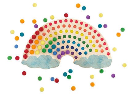 Mirus Toys Color Sorting Wooden Rainbow with Clouds