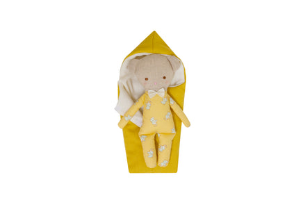 Alimrose Mini Sleepy-Wakey Ted in Butterscotch Sleeping Bag