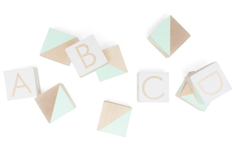 Modern Blocks Alphabet Set Teal & White