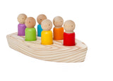 Wooden Boat with Large Peg Dolls