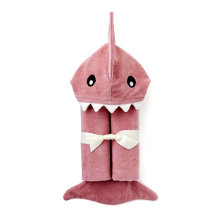 Mauve Shark Hooded Bath Wrap