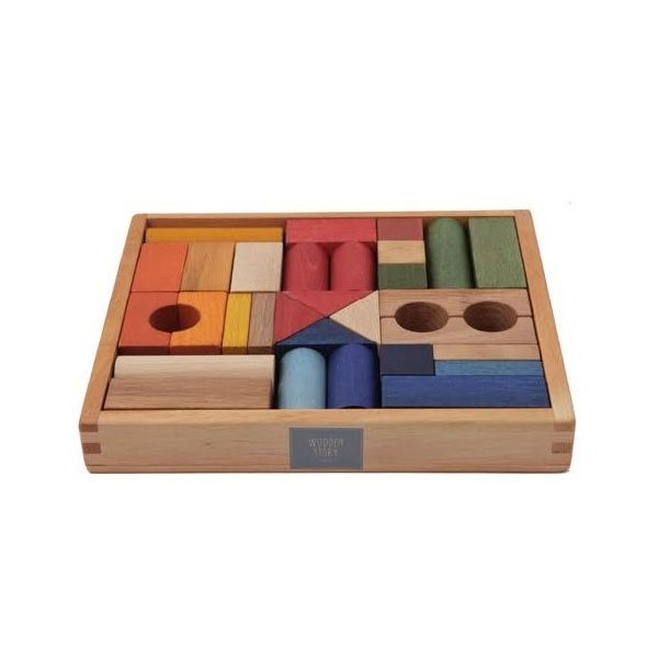 Wooden Story Rainbow Blocks in Tray (30 pieces)