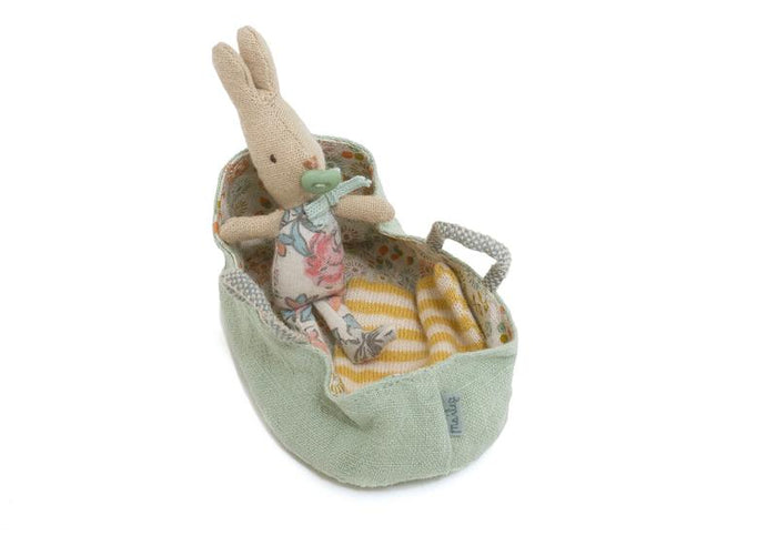 Baby Bunny in Mint Carrycot