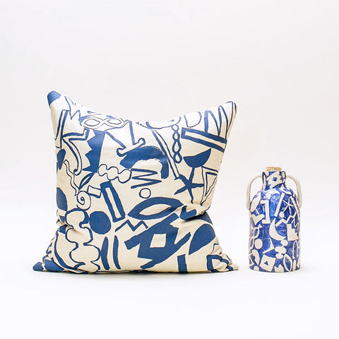 Scatter Pattern Pillow - Blue on Cream