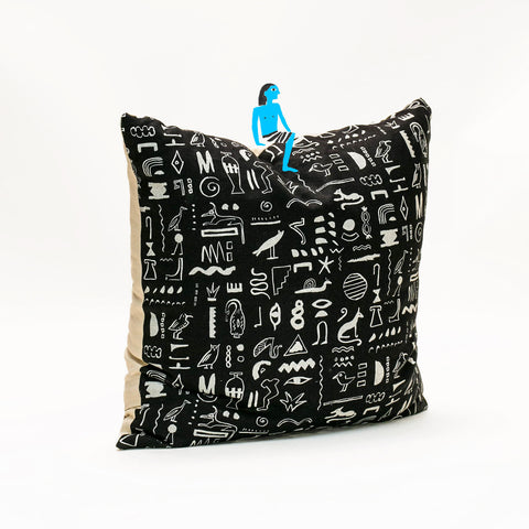 Hiero Pattern Pillow - White on Black
