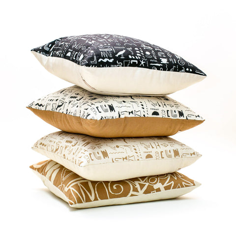 Hiero Pattern Pillow - Sand on Cream