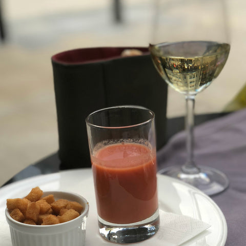 Enjoying a fresh gazpacho in Spain. Gunilla Skin Alchemy travel diaries.