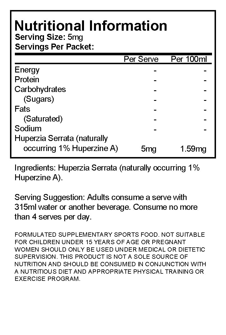 Huperzia Serrata (naturally occuring 1% Huperzine A) Powder