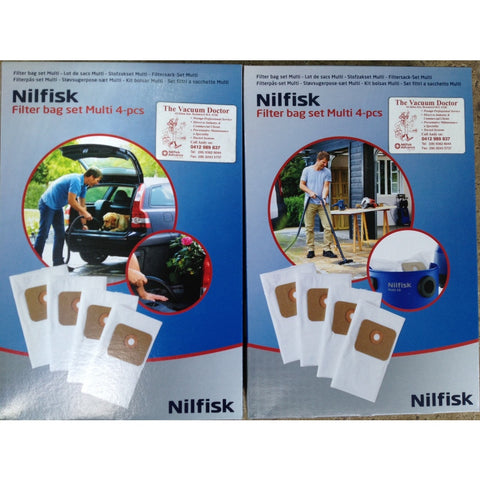 Nilfisk Multi 20 Wet and Dry Vacuum Cleaner Synthetic Dustbags Box of 4
