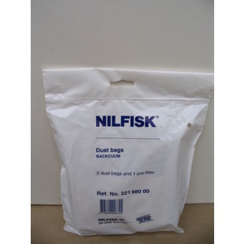 Nilfisk Bacuum Backpack Vacuum Cleaner Dustbags 5 Pack with pre-filter