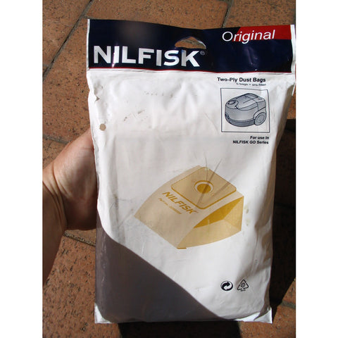 Nilfisk GM60 GO Vacuum Cleaner Paper Dustbags Pack Of 5 With Prefilter