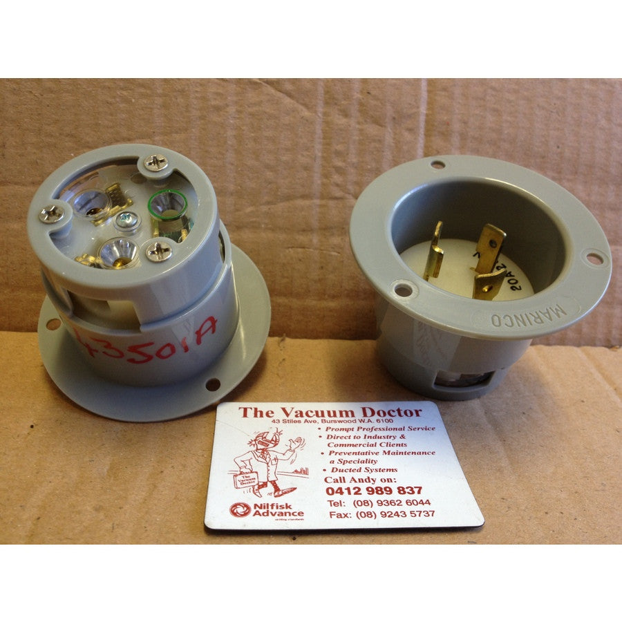 Marinco NEMA L6-20P 20 Ampere 250 Volt Female Socket 2 ONLY - TVD The Vacuum Doctor