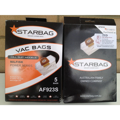 Starbag AF923S For Nilfisk Power Style White Synthetic Dustbags Packet Of Five - TVD The Vacuum Doctor