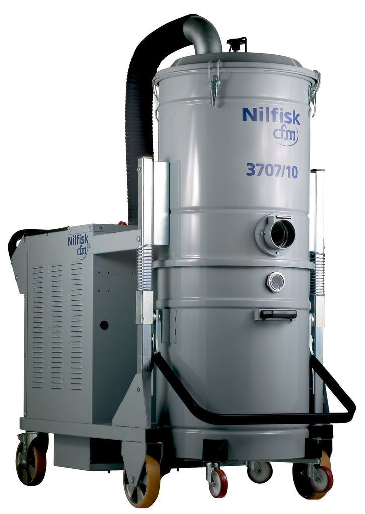 NilfiskCFM 3707/10SE 3 Phase IVAC 10HP Industrial Vacuum Cleaner With Electric Filter Shaker - TVD The Vacuum Doctor