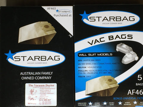Starbag Vacuum Cleaner Pack Of 5 Dustbags In The Style Of Nilfisk NewLine NF225 - TVD The Vacuum Doctor