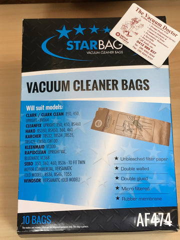 Starbag Packet Of 10 Upright Vacuum Cleaner Paper Dustbags In Karcher TBS32 Style - TVD The Vacuum Doctor