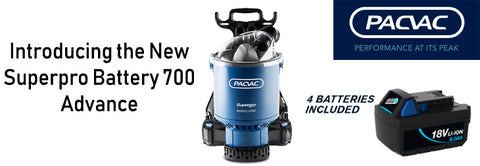 PACVAC Superpro Battery 700 Advanced Backpack Vacuum Cleaner Free Aussie Freight