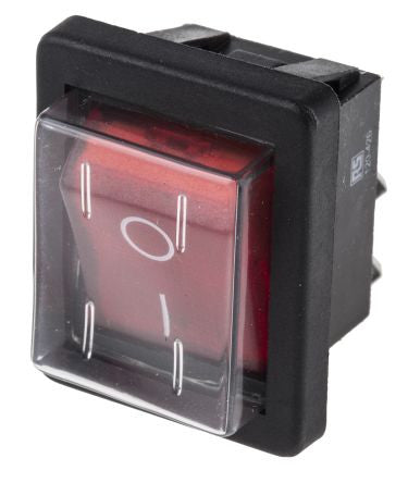 Red Illuminated DPST Splash-proof Panel Rocker Switch 16 Ampere 250Volts - TVD The Vacuum Doctor