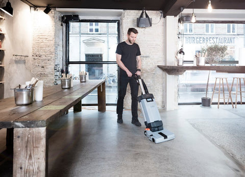Nilfisk SC100 Compact Upright Floor Scrubber Package For Cool Cafes And Small Bars! - TVD The Vacuum Doctor