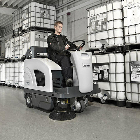 Nilfisk-Advance SW4000 Battery Powered Rider Sweeper With Hydraulic Dump Hopper - TVD The Vacuum Doctor