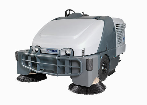 Nilfisk SW8000 G 4 Cylinder GM Vortex LPG Powered Rider Sweeper Two Side Brooms - TVD The Vacuum Doctor