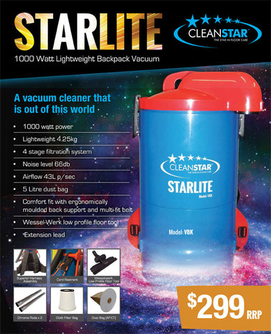 Cleanstar Starlite Commercial 1000 Watt Backpack Vacuum Cleaner