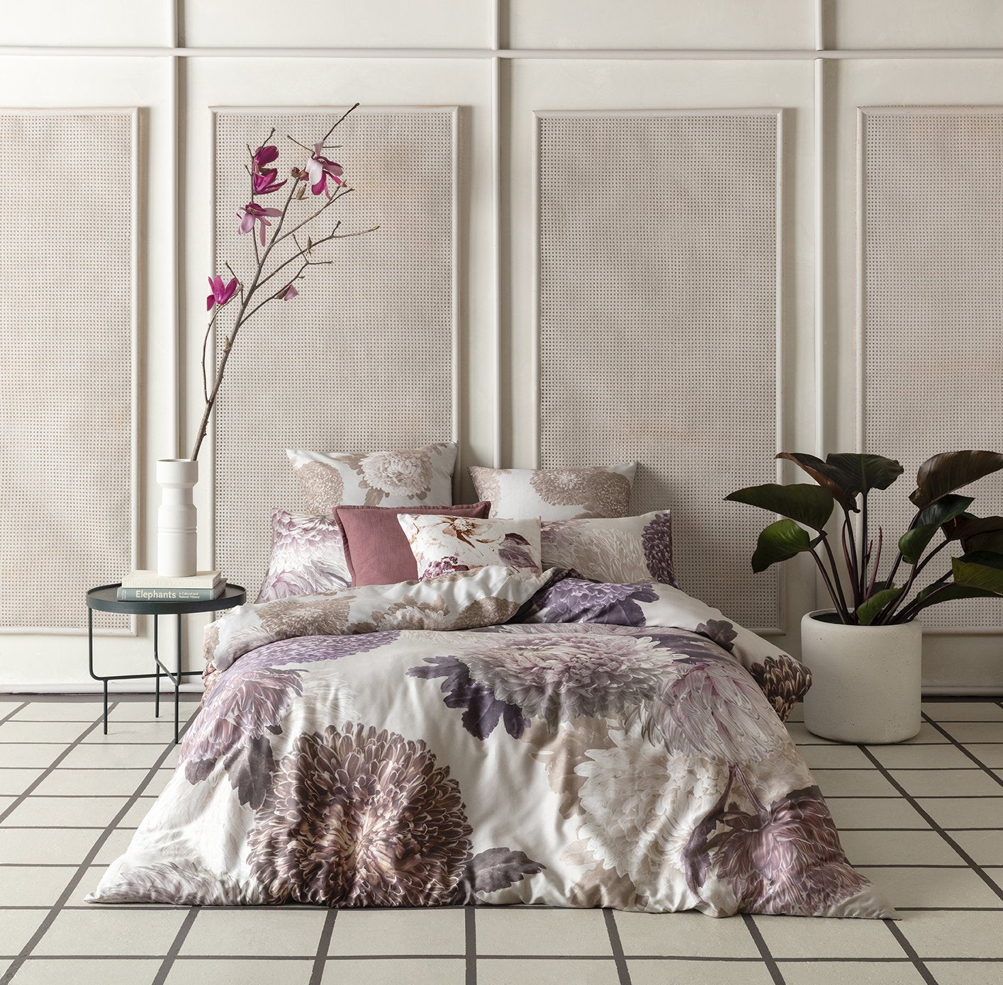 KAS Australia's Bloom Quilt Cover Set styled with six pillows