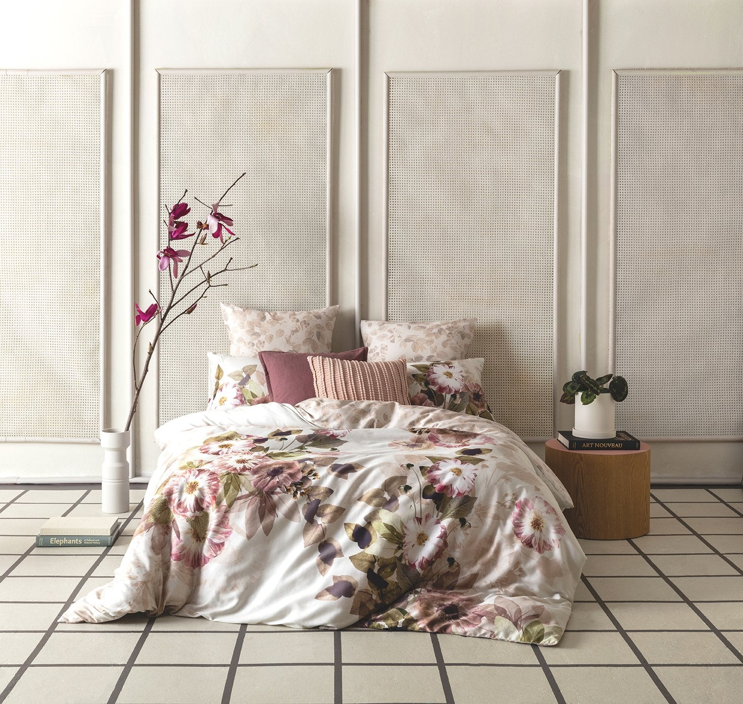 KAS Australia's Rosalie Quilt Cover Set styled with six pillows.