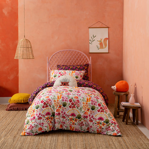 KAS Australia Hettie Kids Quilt Cover Set and pillows styled with plush toy.