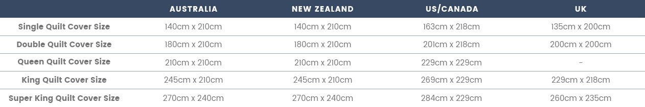 Quilt Cover Size Guide