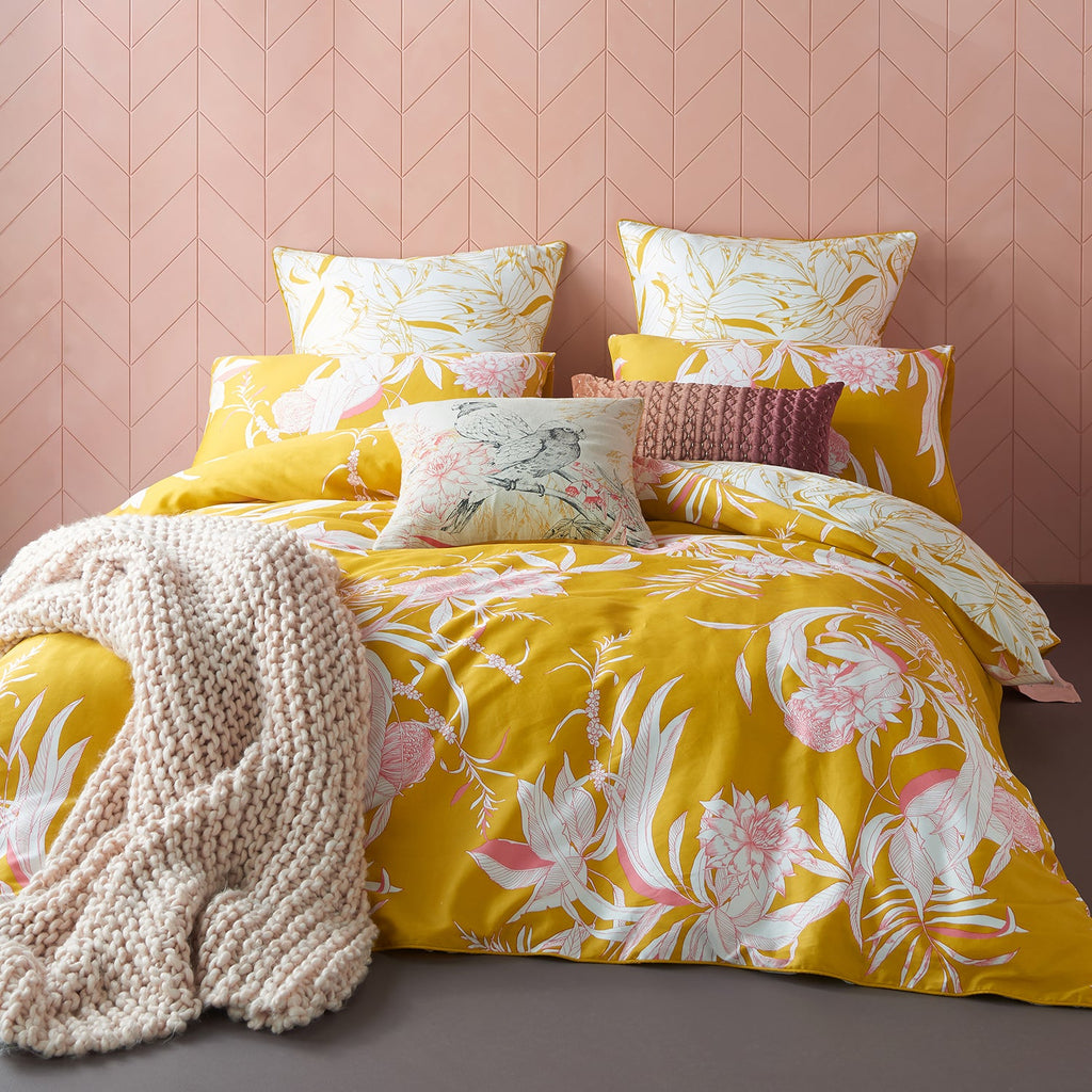 CARROWAY MUSTARD QUILT COVER SET