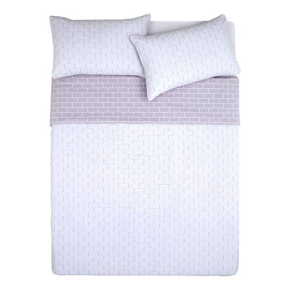 FLETCHER WHITE/GREY QUILT COVER SET