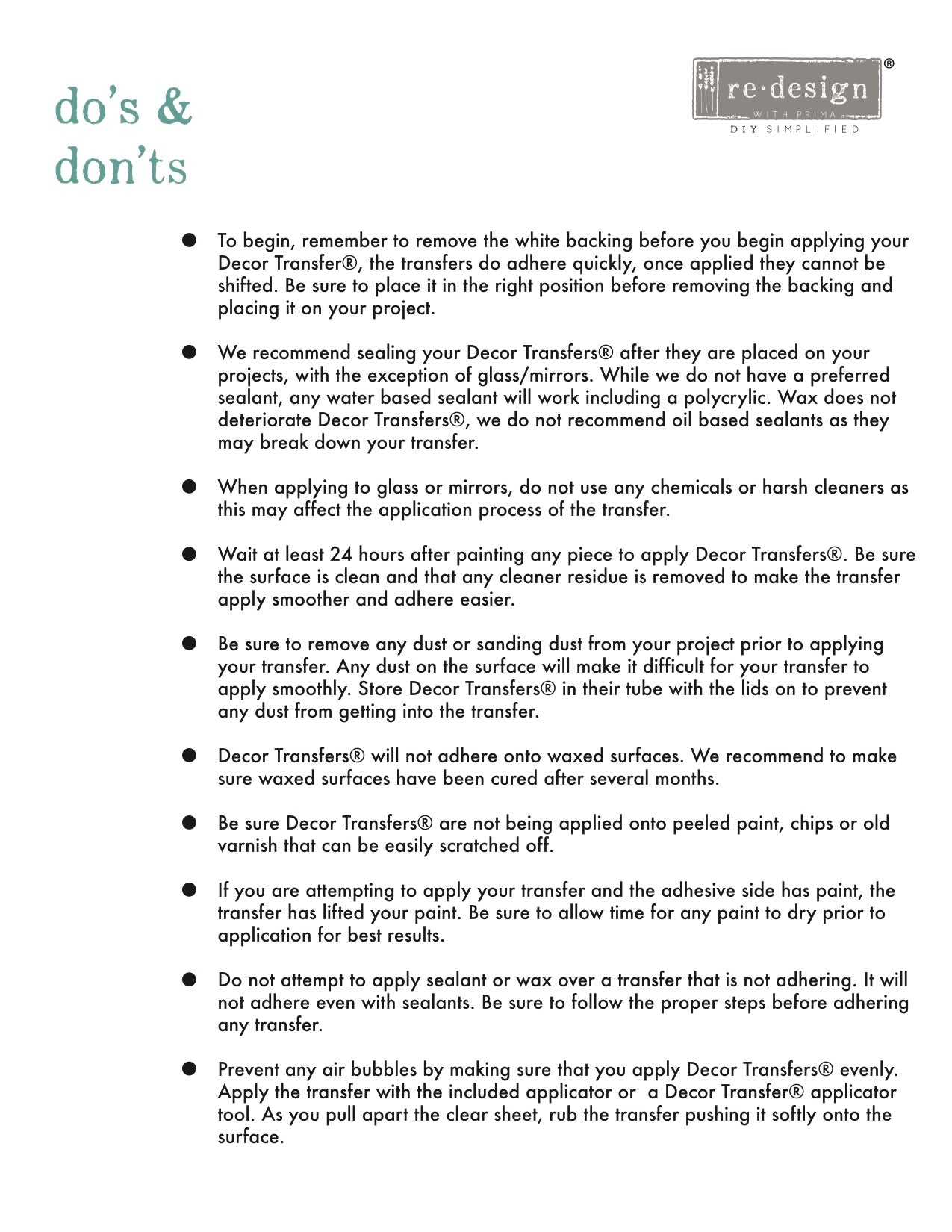 Redesign Transfer Do's and Dont's Page 1
