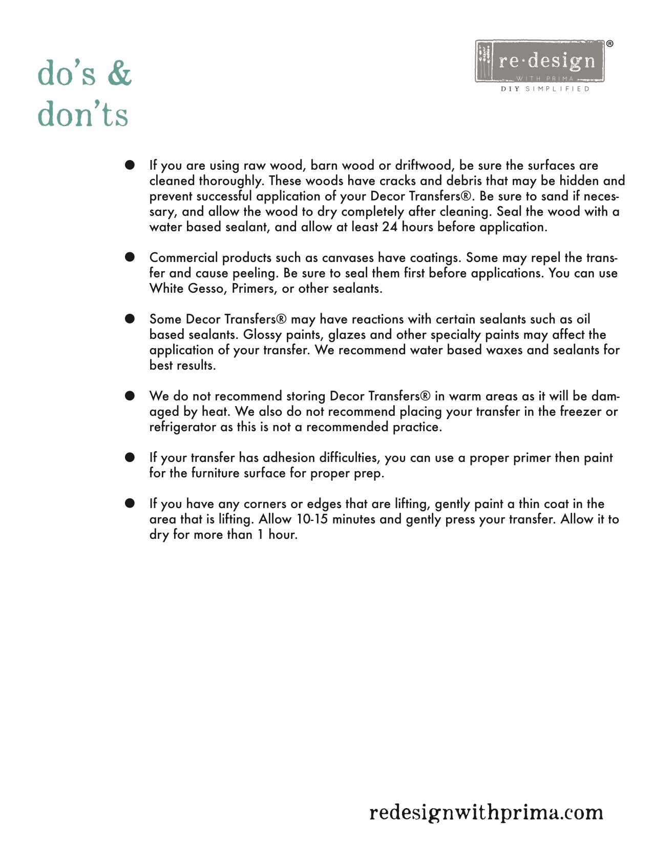 Redesign with Prima Transfer Dos Don'ts Page 2