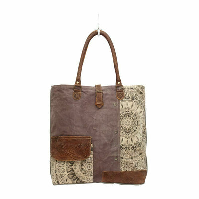 Myra Upcycled Flower Design Canvas and Leather Tote Bag Purse - Piglet's Closet