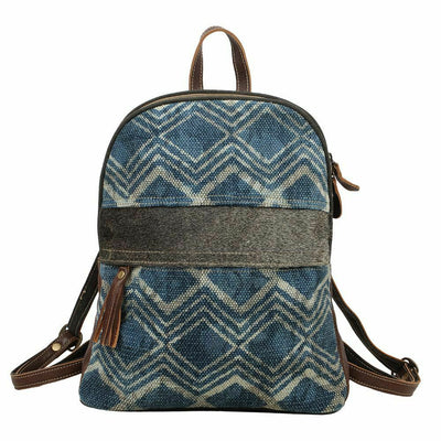 Myra Bags Navy Blue Breeze Backpack Canvas Leather S-1571 - Piglet's Closet