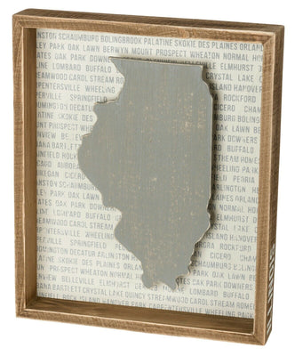PBK State of Illinois Home Grey Wood Inset Box Sign - Piglet's Closet
