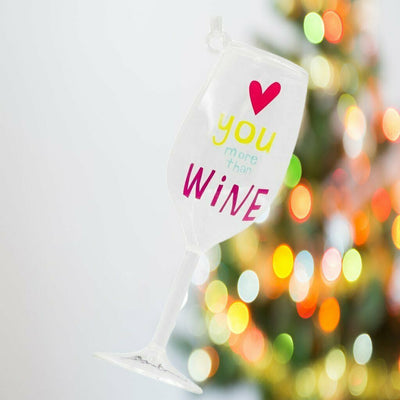 Hallmark Love You More Than Wine Glass Gift Ornament - Piglet's Closet