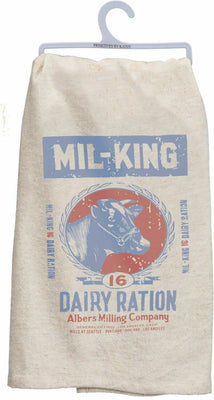 Mil-King Dairy Cow Printed Kitchen Feed Sack Farmhouse Kitchen Dish Towel - Piglet's Closet