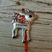 Hallmark Rudolph The Red Nosed Reindeer GRANDMA Metal Ornament - Piglet's Closet