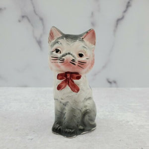 Vintage Japan Grey Kitten Cat Bow Painted Ceramic Figurine - Piglet's Closet